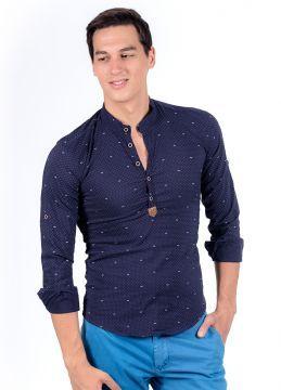 Yazlık Yeni Sezon Haki Lacivert Yaka Erkek Gömlek