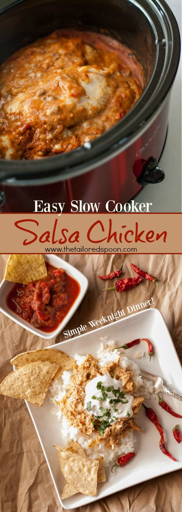 A quick and easy Slow Cooker Salsa Chicken recipe is made only with 5 ingredients!  #leftovers #holidays #chicken #SlowCooker