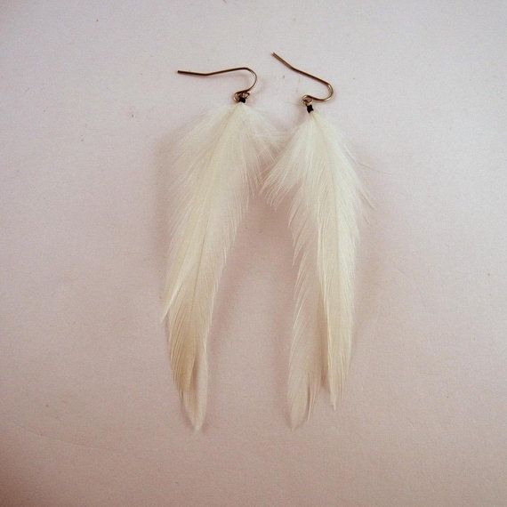 white feather earrings dangler natural feathers thin