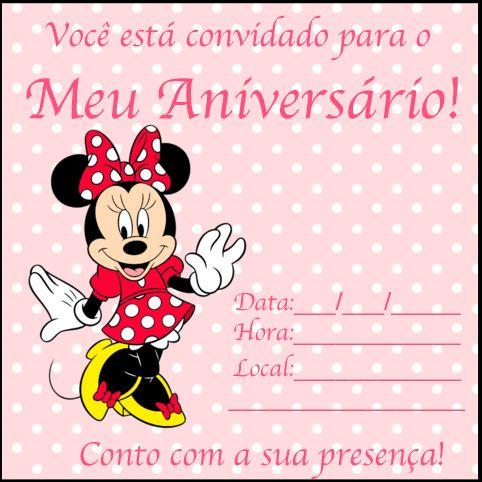 Convites da Minnie para Imprimir - Grátis - Toda Atual