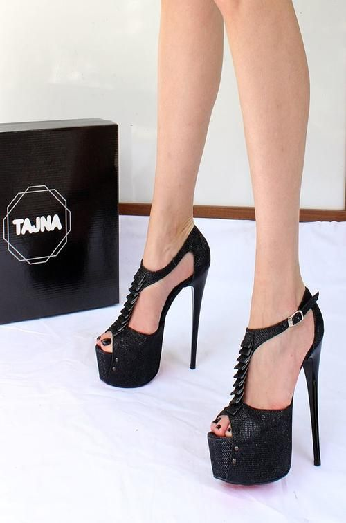 <b>Black</b> Shimmer Ankle Strap <b>Peep Toe High</b> Heel <b>Platform</b> Shoes ...