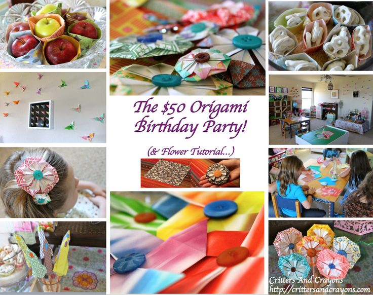 An Origami Birthday Party For About Fifty Dollars Decor Favors And Activities With A Flower Tutorialmake Hair Clips