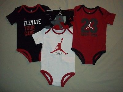 BOYS 12 MONTHS JORDAN 3 PIECE ROMPER SET 3 PAIR MATCHING JORDAN SOCKS NWT