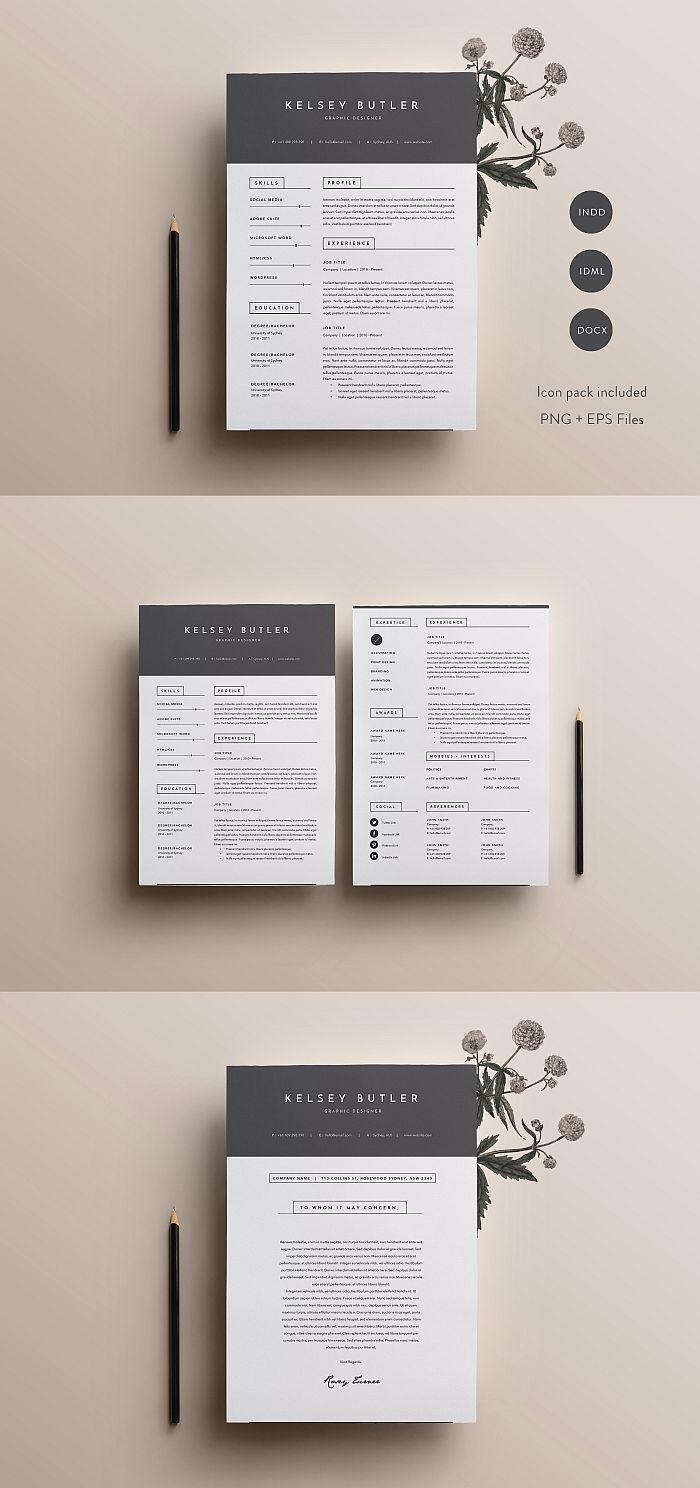 Resumetemplate Resume Template Cv Cvtemplate Coverletter Indesign Templates