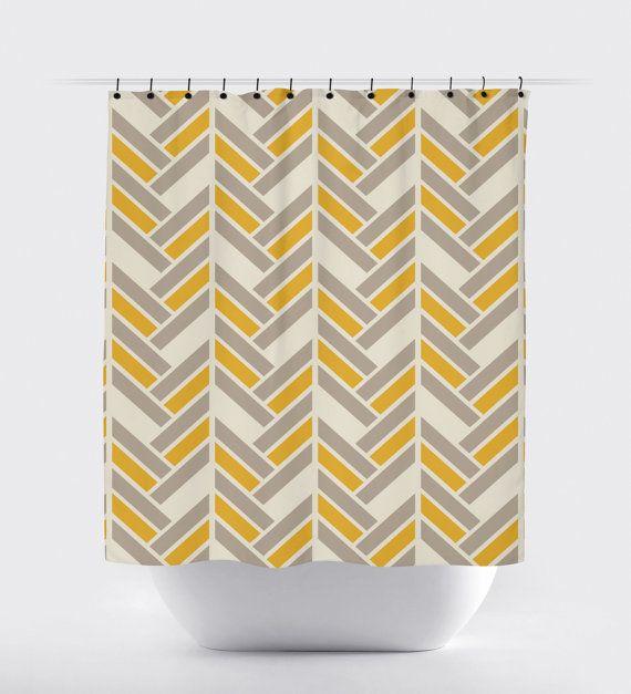 mustard and gray shower curtain, modern fabric shower curtain