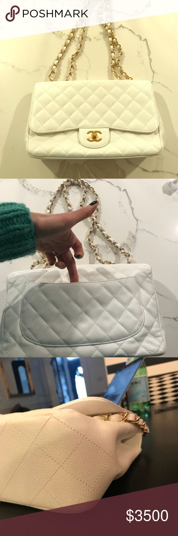 Authentic Chanel Jumbo White Classic Authentic Chanel Jumbo Caviar Leather -white with gold hardware. I used the bag 1 time.  Pristine Condition. Retail $6000 Includes Chanel Dustbag CHANEL Bags