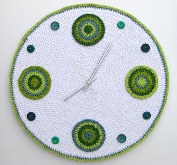 Large crochet wall clock in shades of green - 45cm diameter