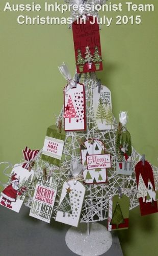 A tree full of Stampin' Up! gift tags - Festival of Trees, Santa's Gifts, Lots of Joy stamp sets
