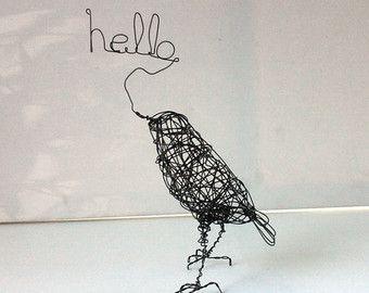 Vogel-Skulptur Draht Vogel Kunst One of a Kind von wireanimals