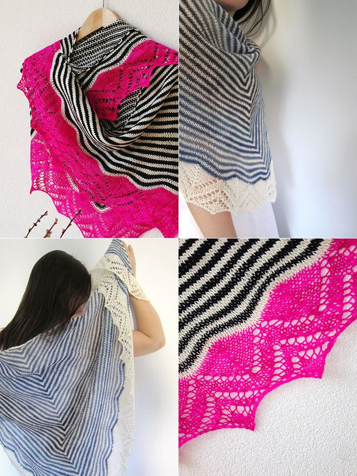 (Project photos: Black, White, Fuschia: vervlogendagen  / Blue, White: heikku) Dream Stripes by Cailliau Berangere is a beautiful triangle shawl knit top-down in stockinette stripes and ending with…