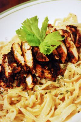 Quick and Easy Blackened Chicken Alfredo. 1/2 tsp paprika1/8 tsp salt1/4 tsp cayenne pepper (I didn't have any, so I used red pepper)1/4 tsp ground cumin1/4 tsp dried thyme (I used ground thyme)1/8 tsp ground white pepper1/8 tsp onion powder. Oh my god! This was sooooo good!