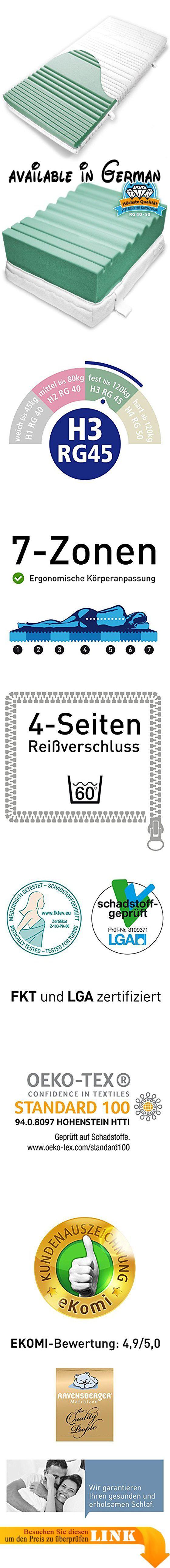 B006OA6LFI : Ravensberger ORTHOPÄDISCHE 7-Zonen HR Kaltschaummatratze H3 RG 45 (80-120 kg) Medicott-SG 90x220 cm. 7-Zonen HYLEX HR Kaltschaum Matratze - Härtegrad: 3 - RG: 45 (80-120kg) - Höhe: 19 cm - Medicott-Silverguard-Bezug - 90 x 220 cm. Hohe Körperanpassung und Schlafruhe - Höchste Tragfähigkeit und perfekte Klimaeigenschaften. Zertifiziert nach ÖKO TEX Klasse 1 (für Babys geeignet) - LGA schadstoffgeprüft - FKT Textil. Hersteller-Garantie: 10 Jahre - 9.000