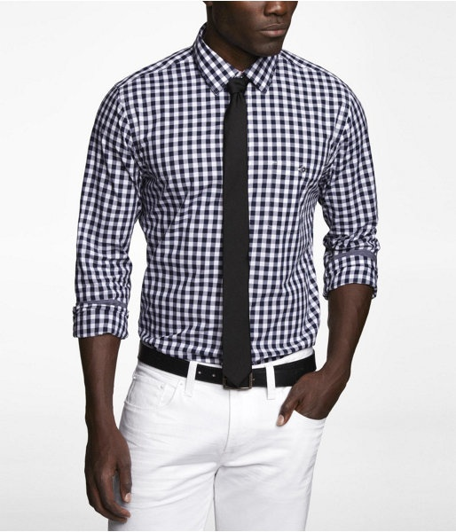 Express Mens Fitted Gingham Plaid Shirt Obsession Blue, X Large