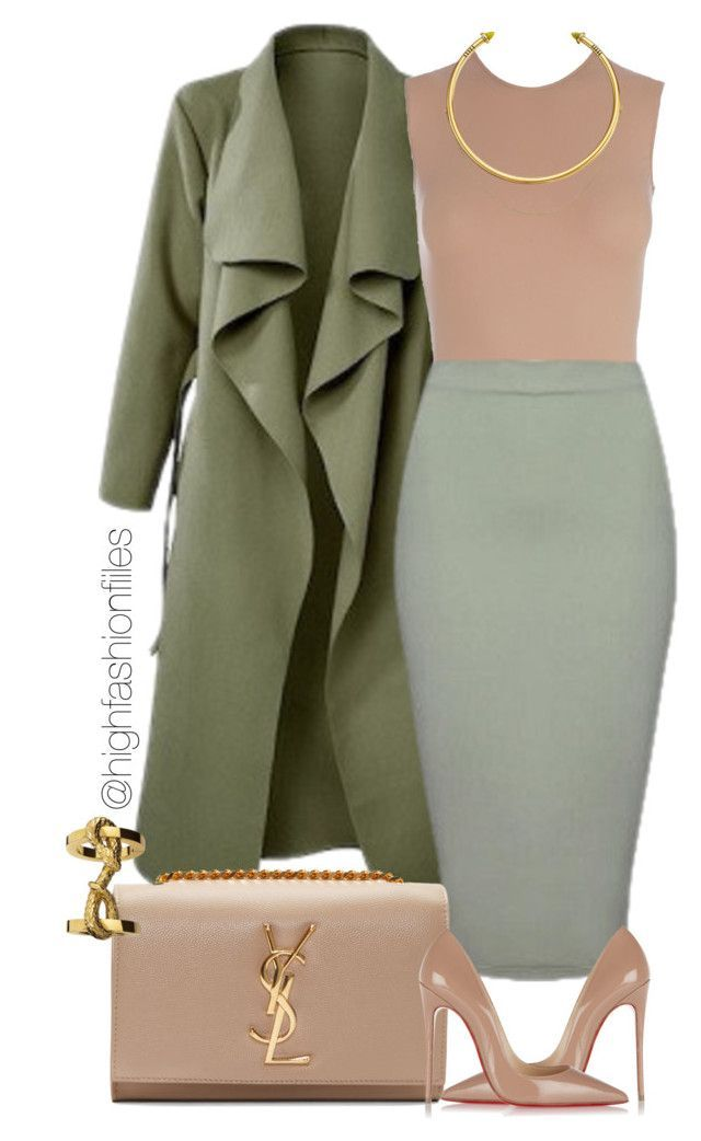 """Khaki?"" by highfashionfiles on Polyvore featuring Maison Margiela, Christian Louboutin, Yves Saint Laurent and OBEY Clothing"