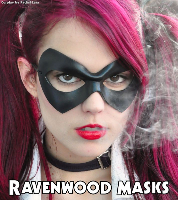 Harey Quinn quality leather cosplay mask www.ravenwoodmasks.com