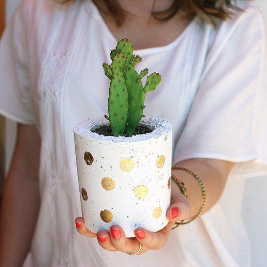 Make Your Own Pots with white cement. (via Zana)