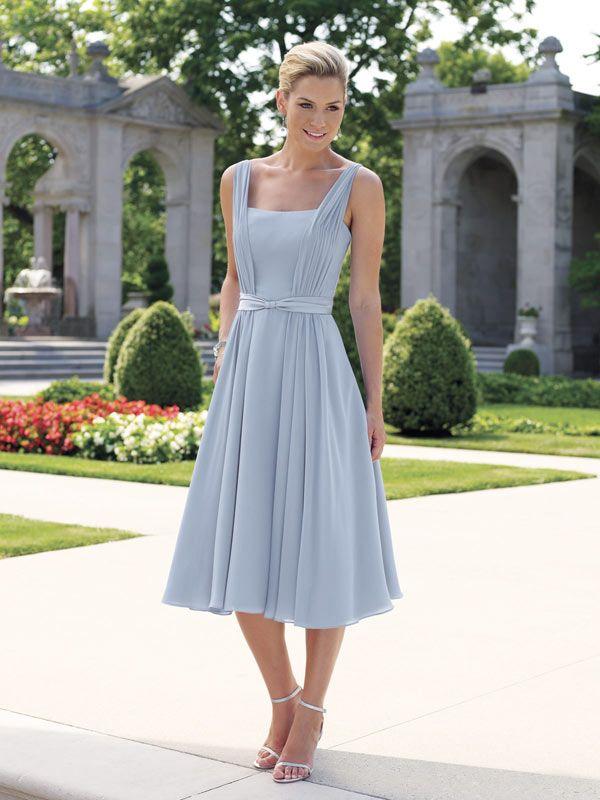 Té de longitud de tela de gasa una línea de vestido de fiesta de regreso a casa con la Plaza de la cintura entallada cuello