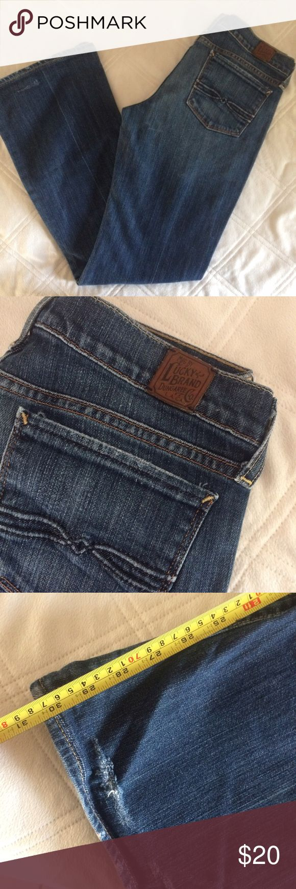 LUCKY JEANS DARK WASH LONG INSEAM SIZE 8/29 Worn but still lots of life! I say broken in jeans are better than new anyways! These jeans have been hemmed, and there is some wear at the bottom. Please see the photos for the condition and length. Still lots of life left in these everyday staple jeans! Lucky Brand Jeans Boot Cut