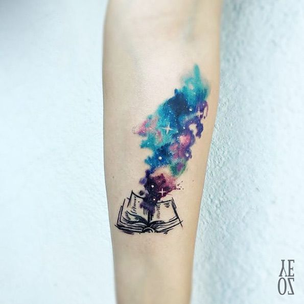 Cosmic book tattoo by Yeliz Ozcan