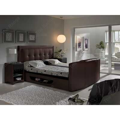 Bowburn Brown Leather Tv Bed 6ft