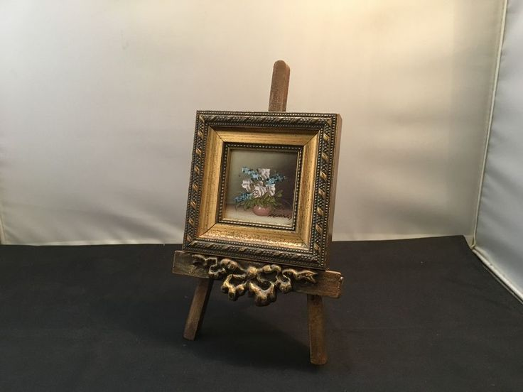 """Vintage Look"" Small Framed Painting with Wood Crafted Display Easel (WC17-6) in Home & Garden, Home Décor, Other Home Décor 