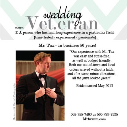 {Wedding Veteran} Mr. Tux has been helping grooms look sharp for their big day for 50 years! Mr. Tux can provide suit and tuxedo rentals along with great service for all the men in your bridal party. #weddingveteran #weddingsuits #weddingtuxes #tuxedorental