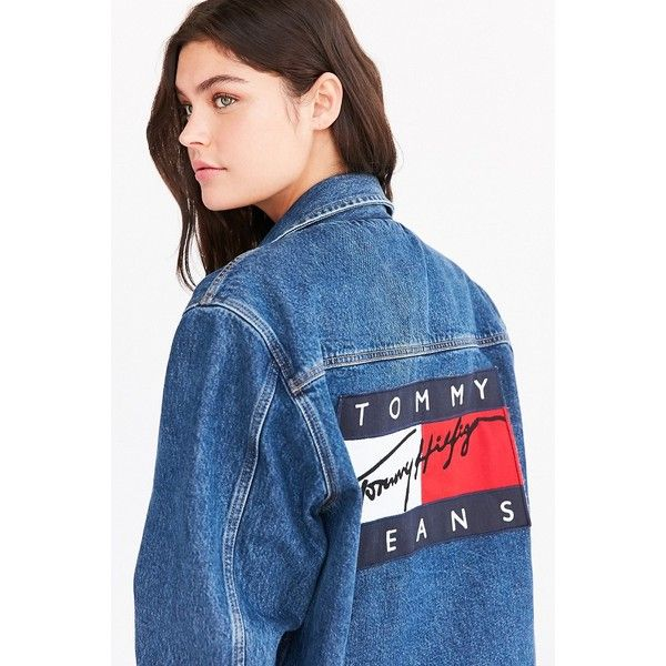Tommy Jeans For UO Boyfriend Denim Jacket (260 CAD) ❤ liked on Polyvore featuring outerwear, jackets, blue jean jacket, tommy hilfiger, blue jackets, tommy hilfiger jacket and denim jacket