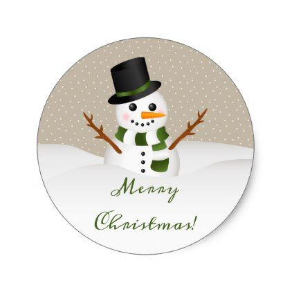 Cute Smiling Snowman With Merry Christmas Text Classic Round Sticker - merry christmas diy xmas present gift idea family holidays