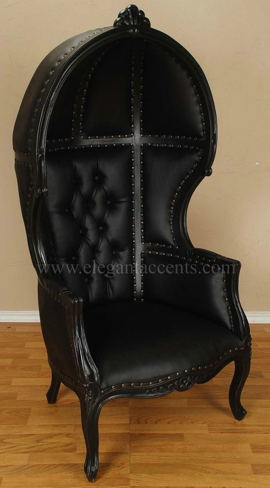 Black Finish Porter Chair Balloon Bonnet Canopy Dome