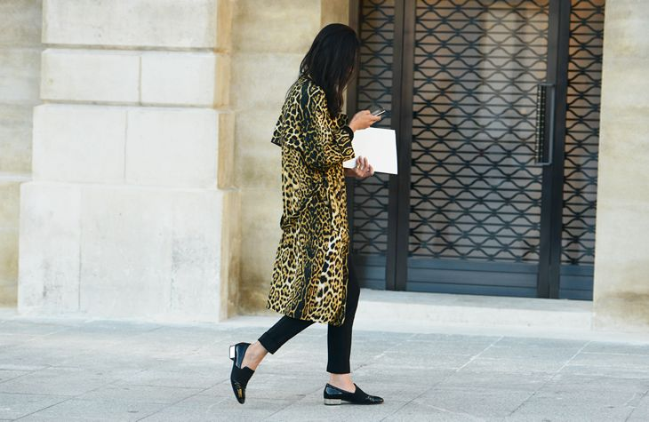 Leopard coat and loafers