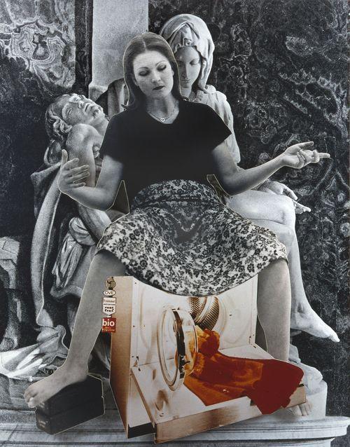 Landesgalerie Linz, Oberösterreich Ausgangspunkt der 'Geburtenmadonna' von Valie Export ist Michelangelos 'Pietà' in Rom. Die Künstlerin thematisiert damit tradierte Rollenbilder und die...