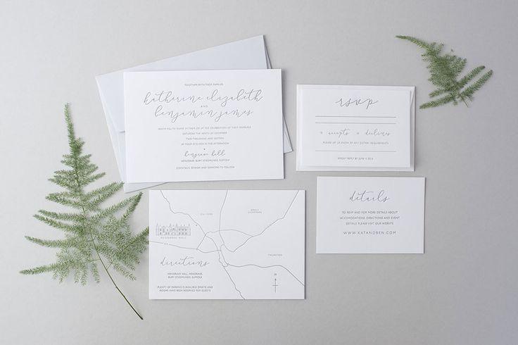 """Benjamin"" Design. Minimal calligraphy letterpress wedding invitation and save the dates"