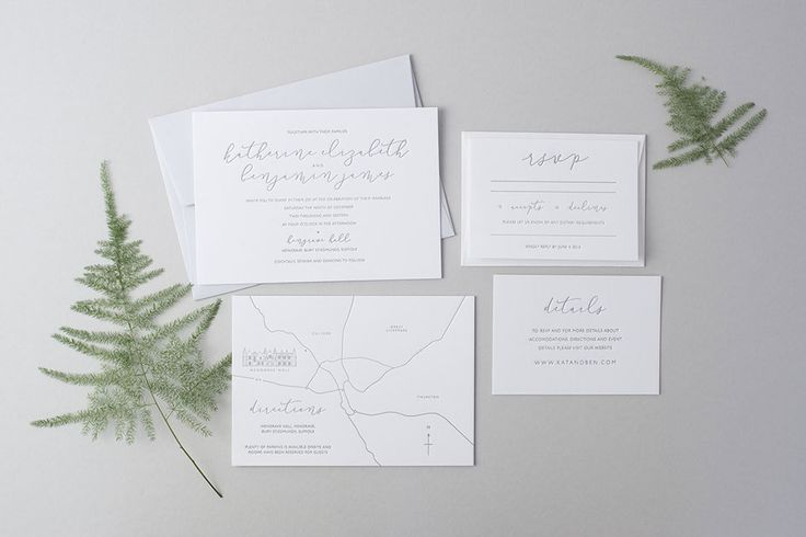 """Benjamin"" Design. Minimal calligraphy letterpress wedding invitation and save the dates"