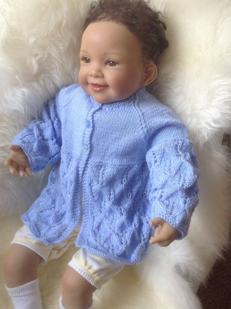 Baby Sweater / Cardigan in Blue to Fit a 3-6 month Baby Boy Ready to Ship by Meganknits4charity on Etsy