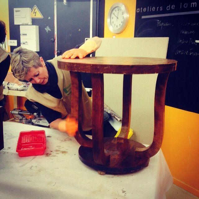 Cours de Bricolage.admt: Rénovation meuble Ancien : Guéridon année 30 Leroy...