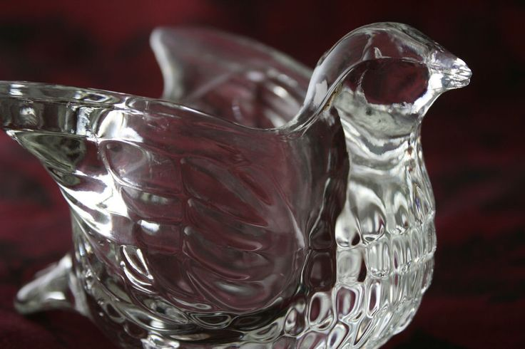 Glass Bird Dove Avon Vintage Candle Holder Votive Collectible Flawless!