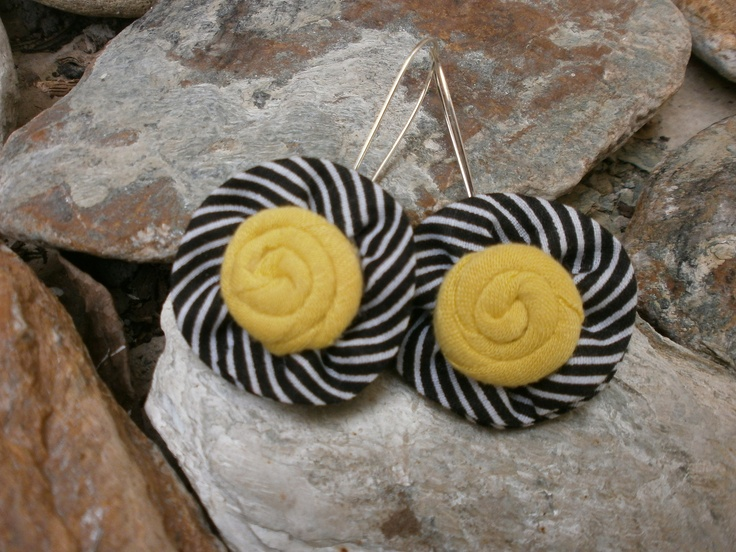 Earrings in black, white and yellow. Perfect for summer!