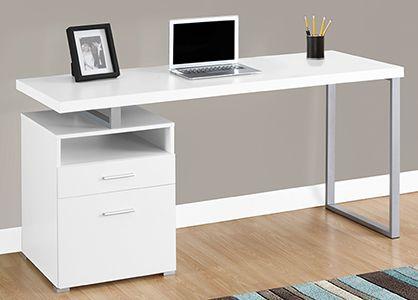 Офисный стол на металлических опорах МД64.2.150 белый