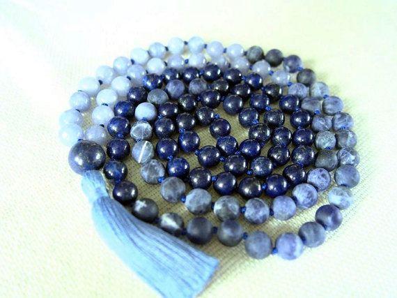 108 Mala Beads, Lapis Lazuli Sodalite Anhydrite Mala Necklace, Blue Meditation Beads Mala 108, Hand Knotted Mala