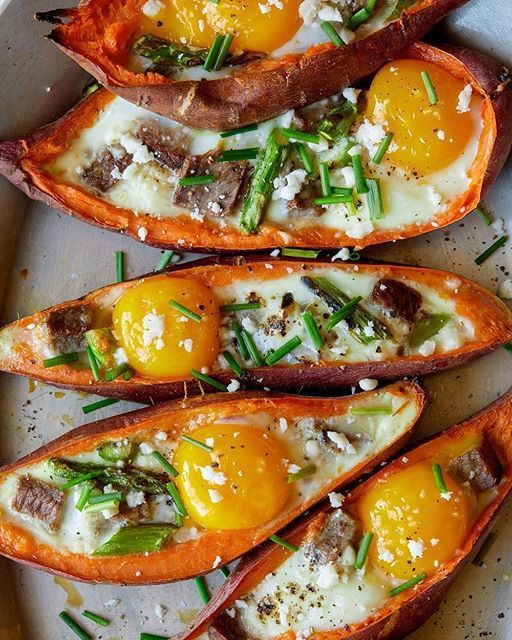 Twice Baked Sweet Potatoes With Steak And Eggs via @feedfeed on https://thefeedfeed.com/spoonforkbacon/twice-baked-sweet-potatoes-with-steak-and-eggs