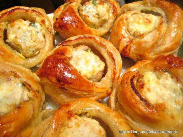 Закусочные пирожки с курицей и сыром • Закуски горячие