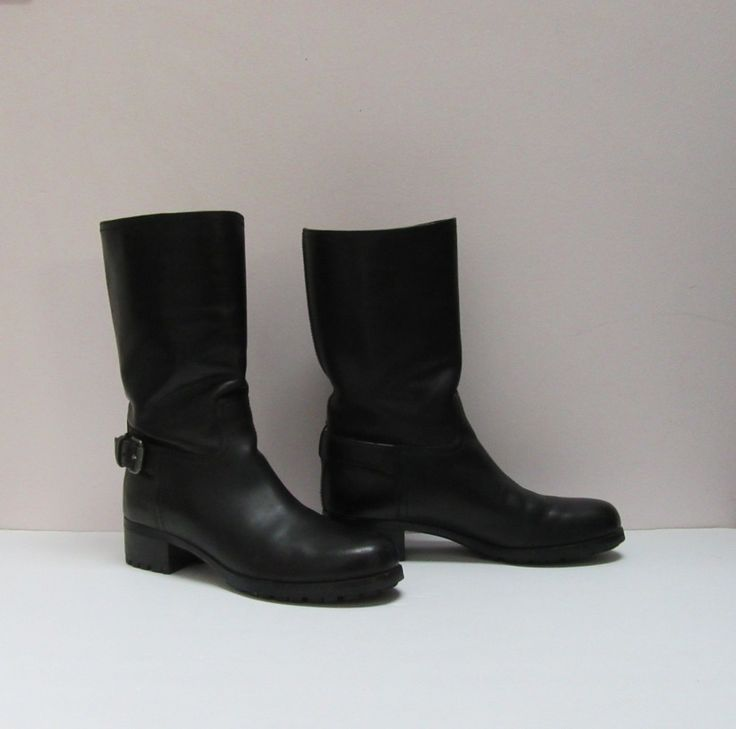 Prada black leather mid-calf boot, buckle & leather lined, size 7. SOLD