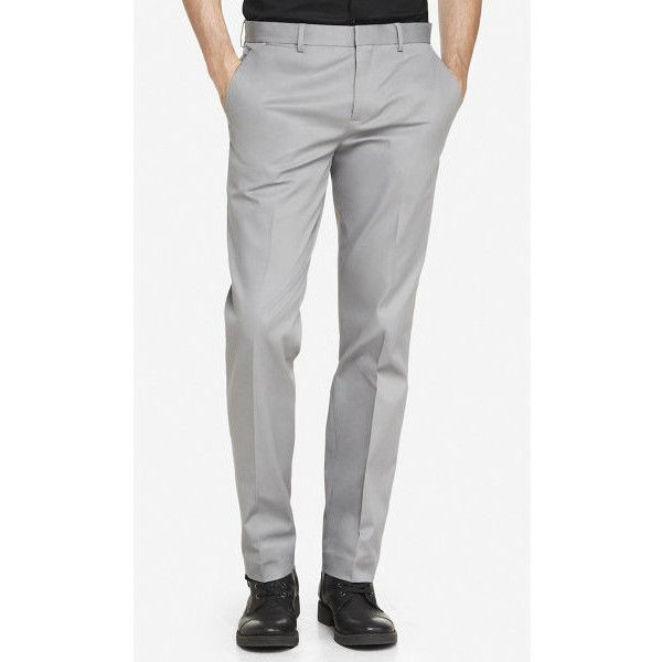 Express Slim Photographer Stretch Cotton Dress Pant (1,455 MXN) ❤ liked on Polyvore featuring men's fashion, men's clothing, men's pants, men's dress pants, grey, mens suit pants, mens pants, mens grey dress pants, express mens pants and mens slim fit suit pants