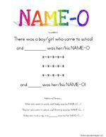 ing and Learn ~ Name Songs  These are a few simple name songs that will help your children learn to spell and recognize their names.  Make fun name cards to go with these songs!  We made glue/glitter index cards and I laminated them.