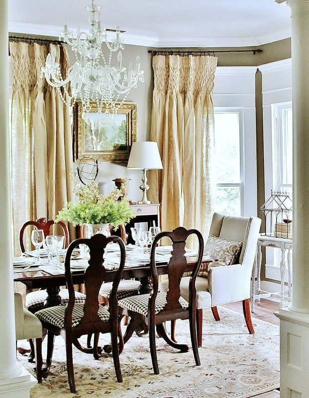Dining_room: Crystals Chand, Dining Rooms, Thistlewood Farms, Curtains Rods, Free Graphics, Burlap Curtains, Window Treatments, Burlap Projects, Elegant Dining