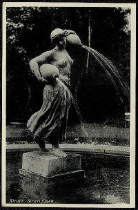 "Postcard depicting ""Struerpigen"" from the 1930ties. As the postcard shows, at that time a part of a fountain. The author Johannes Bucholtz who alledgedly raised the money to get the sculpture to Struer, was not happy about the fountain-arrangement, but he died in 1940, and did not live to see it changed."
