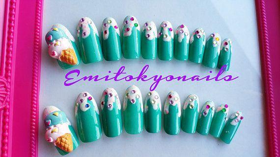 ice cream20 Nails3d NailsKawaii NailsFalse by emitokyonails