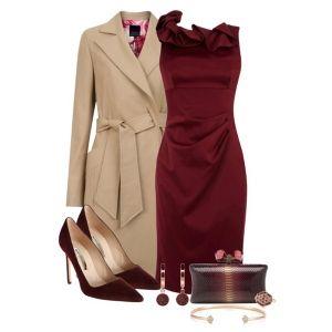 С чем носить бордовые туфли: бордовое платье и бежевое пальто