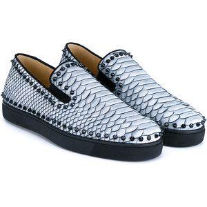 CHRISTIAN LOUBOUTIN Studded Python Boat Shoes