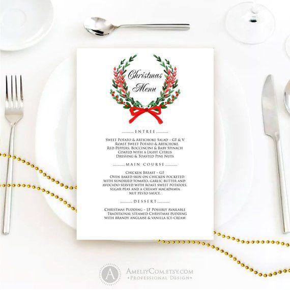 Printable Christmas Menu Christmas Dinner Menu Cards Wedding Etsy Christmas Dinner Menu Diy Wedding Menu Christmas Menu